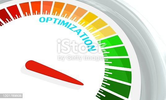 istock Optimization level conceptual meter 1201789506