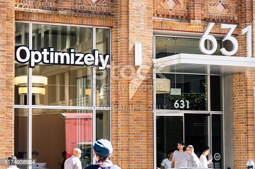 August 21, 2019 San Francisco / CA / USA - Optimizely headquarters in SOMA District; Optimizely is an American private company that makes customer experience optimization software for other companies