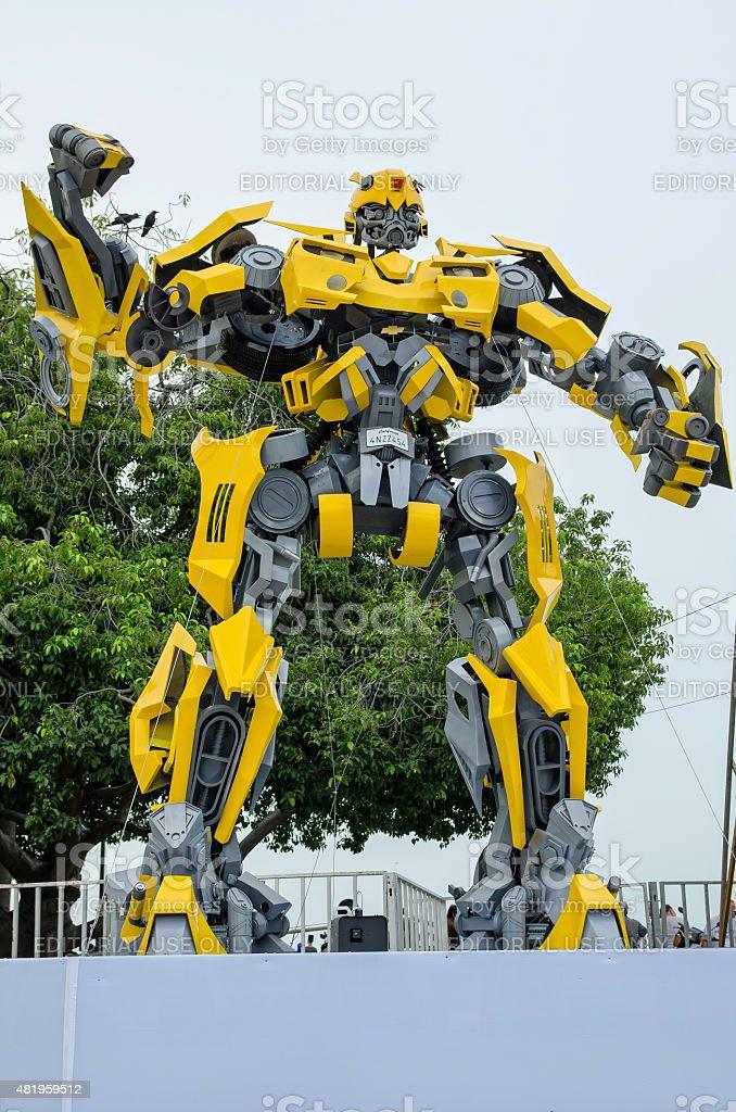 Optimus Prime e Calabrone trasformatori mostra su Esplanade Penang, Malesia. - foto stock