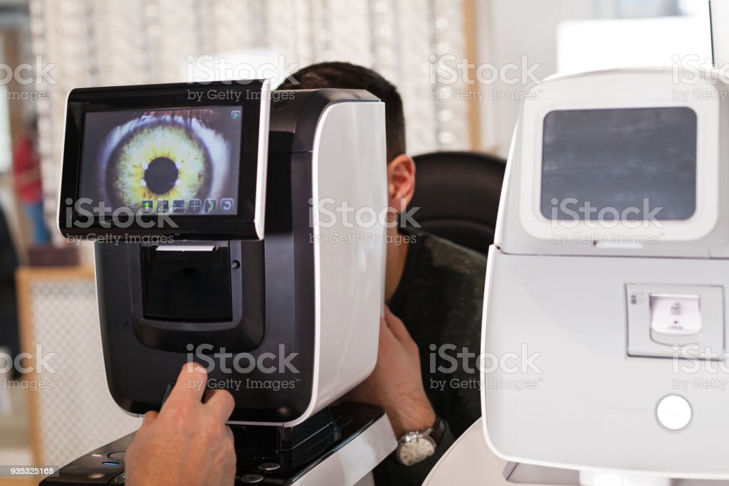 Optometric exam stock photo