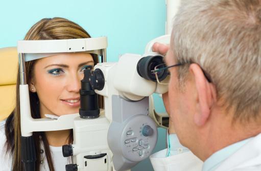 Optometrist Eye Exam Tonometer Stock Photo - Download Image Now