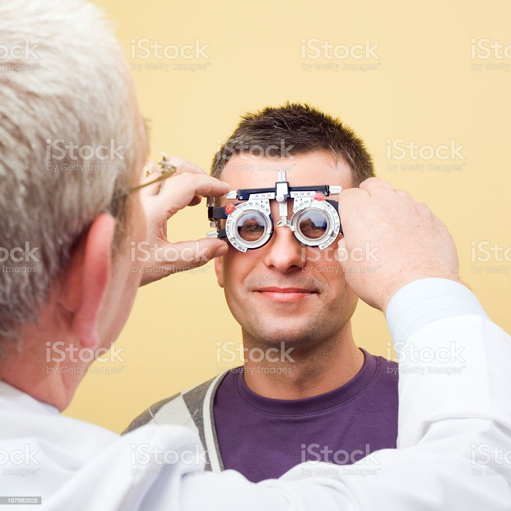 Optometrist Eye Exam Trial Frames  25-29 Years Stock Photo