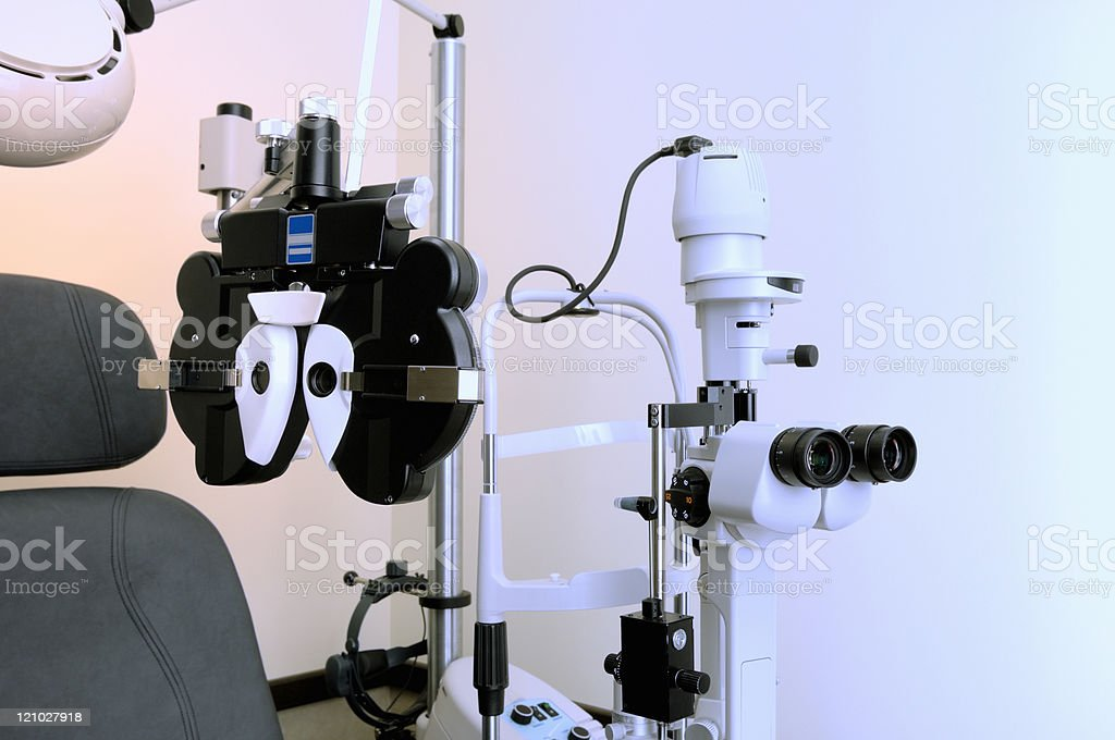 Optometrist's eye examination equipment royalty-free stock photo