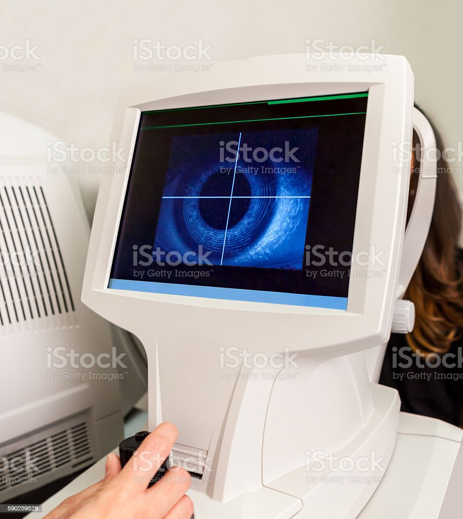 Optometry Corneal Topographer Showing an Eye and Cornea on Screen stock photo