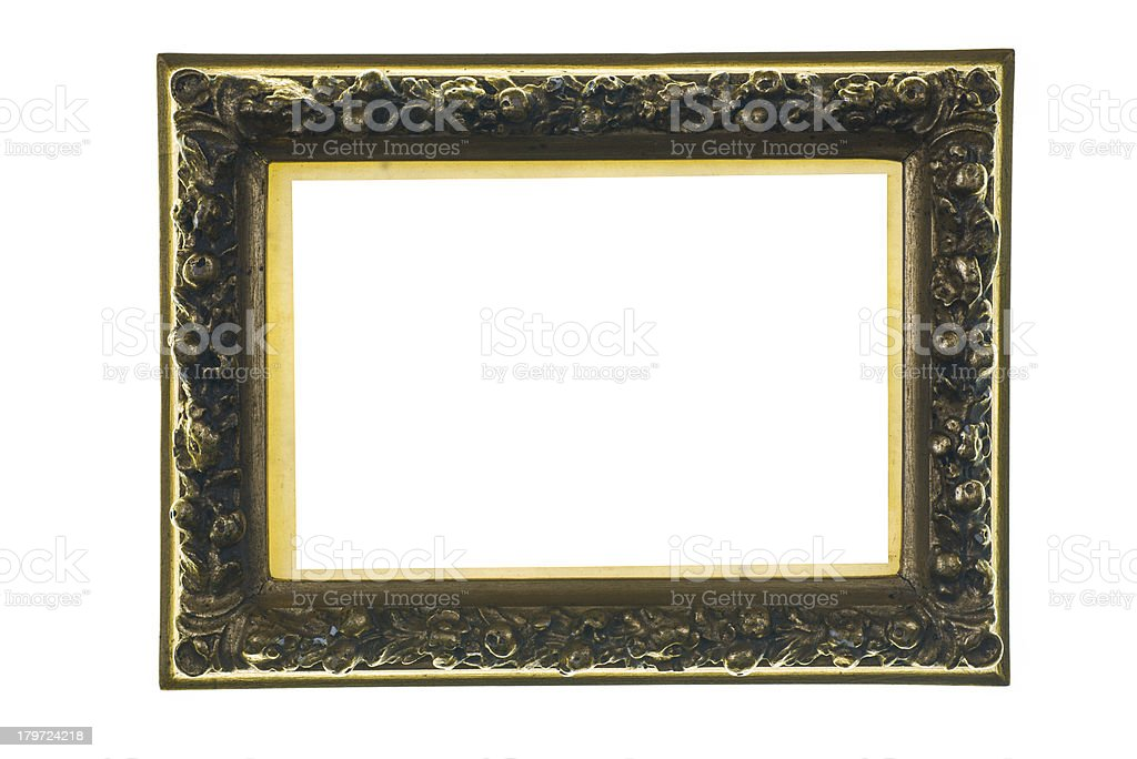 opulent carving picture frame with gold stock photo