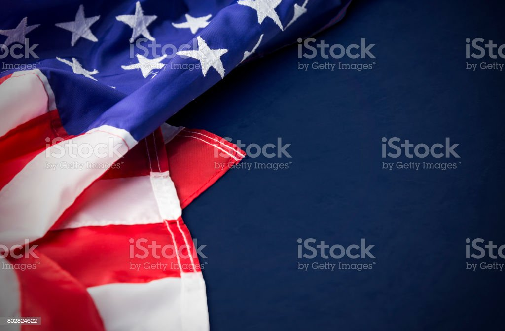 USA or america flag isolated on blue background with clipping path stock photo