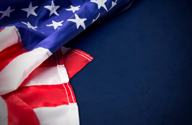 usa or america flag isolated on blue background with clipping path - президент стоковые фото и изображения