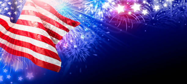 USA or america flag with fireworks abstract background stock photo
