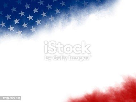 USA or american flag watercolor brush stroke on white background illustration