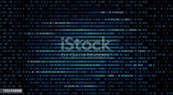istock 01 or binary code number on the computer in digital data technology concept on black background. Hacker screen display. 3d illustration 1034439568