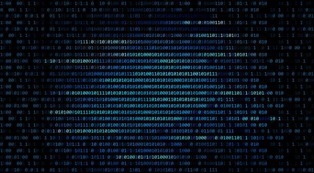01 oder binären code-nummer auf dem computer in digitale daten technologiekonzept auf schwarzem hintergrund. hacker-screen-display. 3d illustration - binärcode stock-fotos und bilder