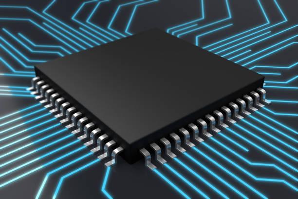 CPU or Computer circuit board concept stock photo