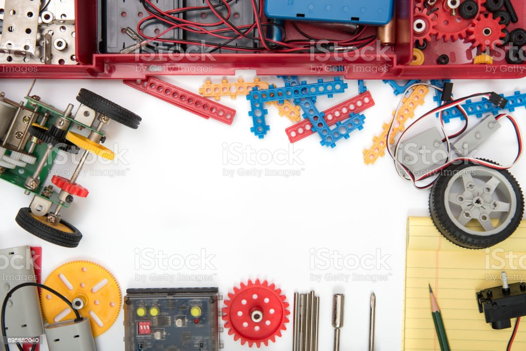 STEM or DIY science Kit set white background. stock photo
