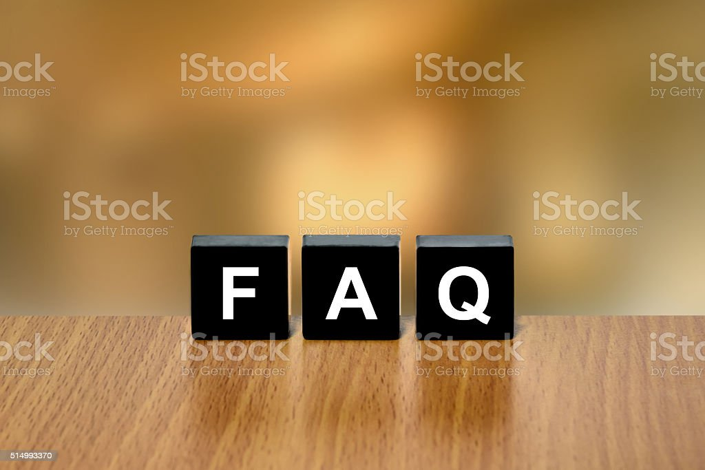FAQ or Frequently asked questions on black block stock photo