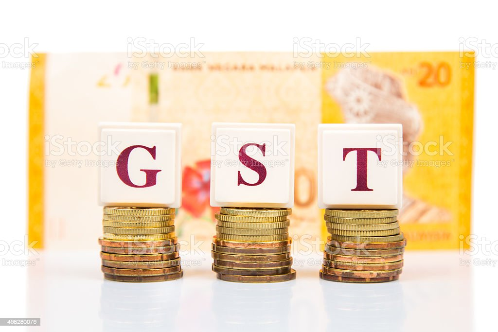 Gst Or Goods And Services Tax Concept With Malaysia Ringgit Stock