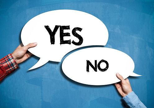 istock YES or NO bubble speech/ Blue board concept(Click for more) 610780656