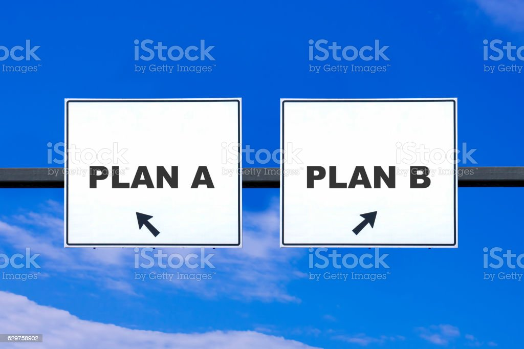 PLAN A or PLAN B Road Sign stock photo
