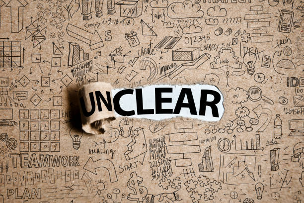 CLEAR or UNCLEAR / Torn paper concept (Click for more) stock photo