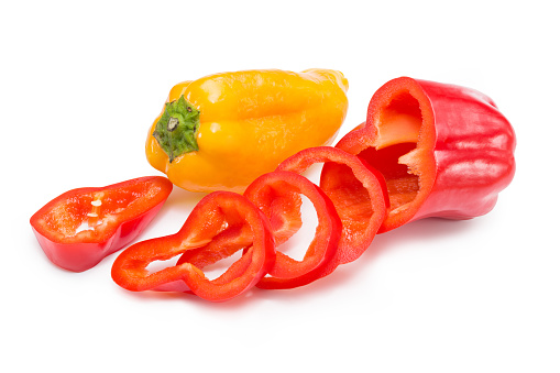 Ora sweet pepper isolated on white background. Clipping path.