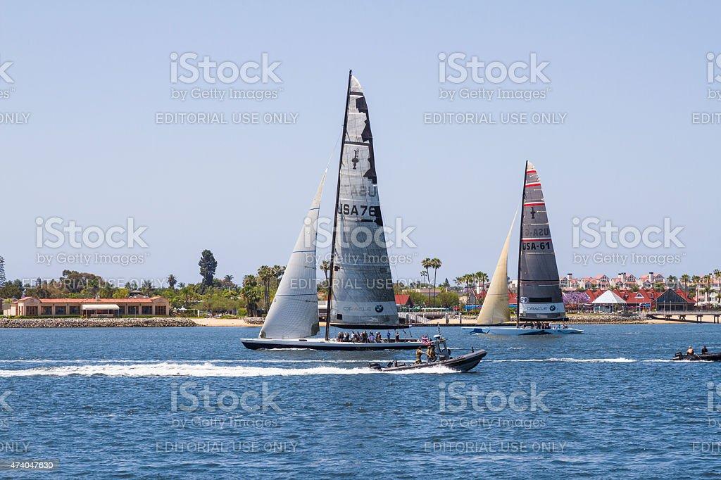 Oracle Sailboats In San Diego California Harbor stock photo