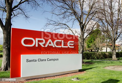 Santa Clara, USA - March 26, 2012: Oracle santa clara campus. Oracle Corporation is an American multinational computer technology corporation that specializes in developing and marketing computer software products particularly database management systems. By 2007 Oracle had the third-largest software revenue, after Microsoft and IBM.