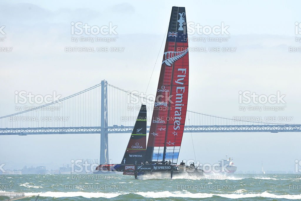 Oracle Team USA and New Zealand racing stock photo