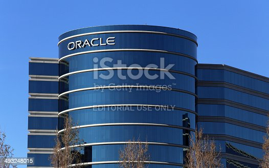 Redwood City, CA, USA – March 18, 2014: The Oracle World Headquarters located in Redwood City. Oracle Corporation is an American multinational computer technology corporation.