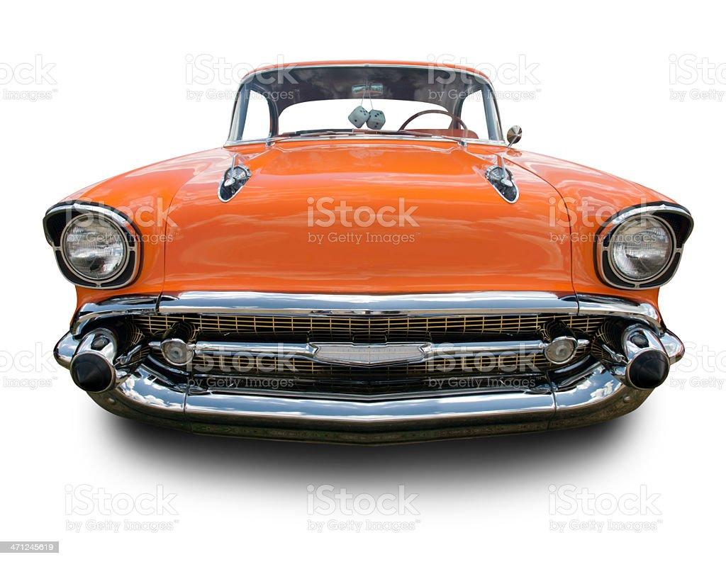 Orange 1957 Chevy Bel Air stock photo