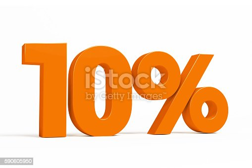 istock Orange 3d 10% on white background for autumn sale campaigns. 590605950