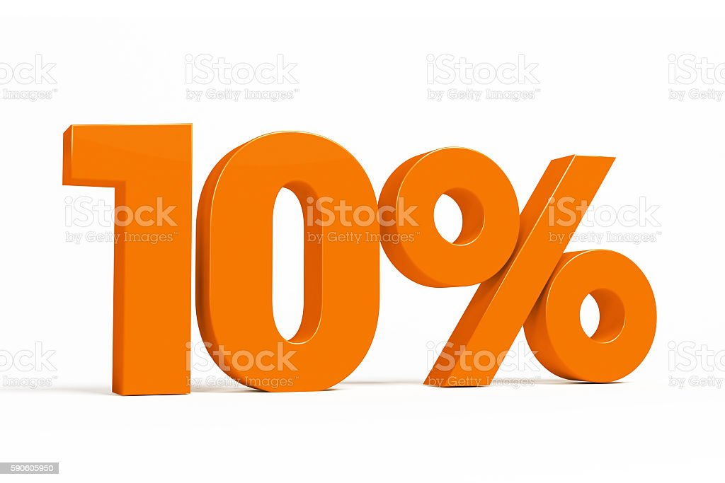 Orange 3d 10% on white background for autumn sale campaigns. stock photo