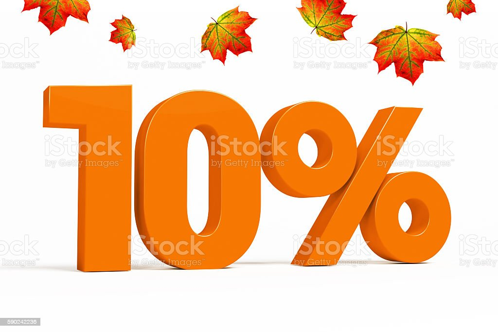 Orange 3d 10 % with leaves for autumn sale campaigns. stock photo