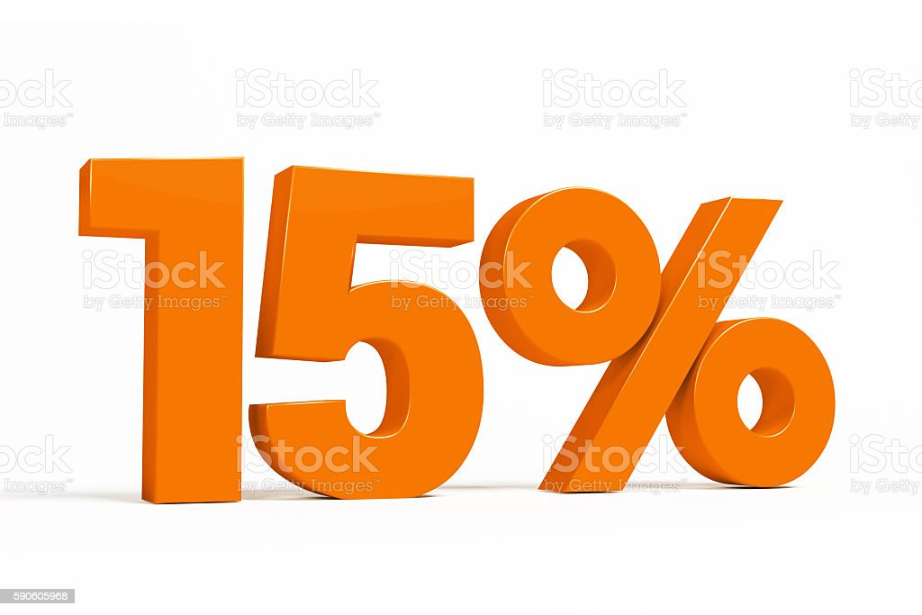 Orange 3d 15% on white background for autumn sale campaigns. stock photo