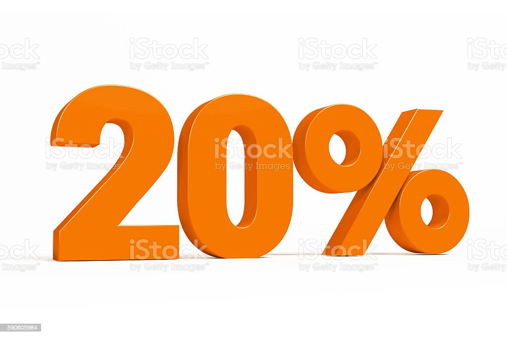 Orange 3d 20% on white background for autumn sale campaigns. stock photo