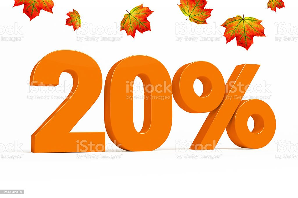 Orange 3d 20 % with leaves for autumn sale campaigns. stock photo