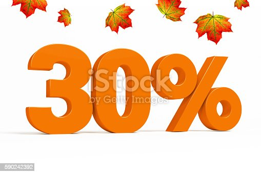 istock Orange 3d 30 % with leaves for autumn sale campaigns. 590242392