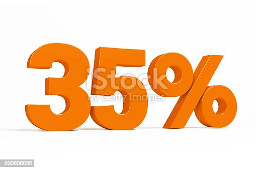 istock Orange 3d 35% on white background for autumn sale campaigns. 590606036