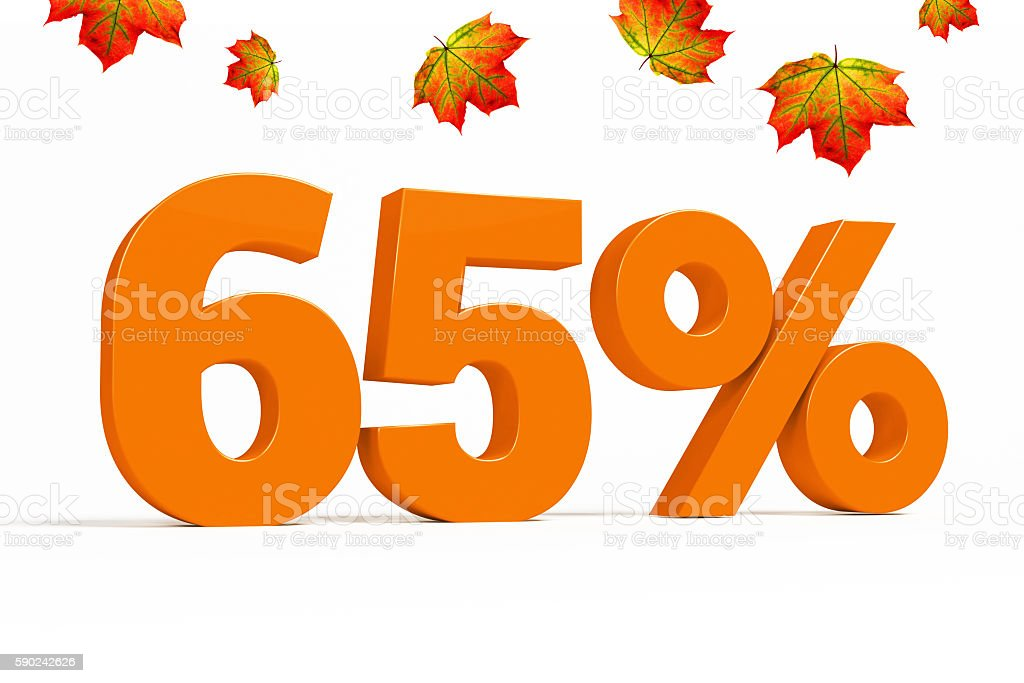 Orange 3d 65 % with leaves for autumn sale campaigns. stock photo