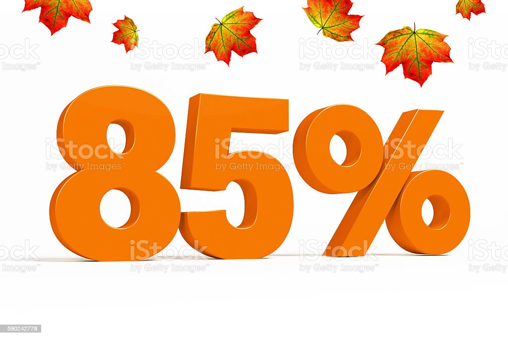 Orange 3d 85 % with leaves for autumn sale campaigns. ストックフォト