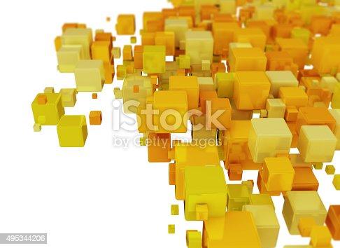482650499istockphoto Orange 3D Cubes Background 495344206