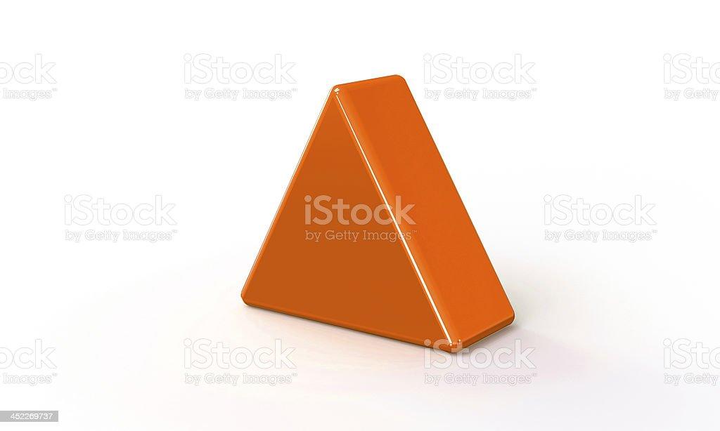 Orange 3d triangle pyramid model isolated on white stock photo