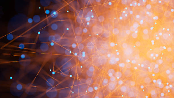 Orange abstract particle background stock photo