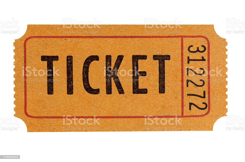 Orange admission ticket stock photo