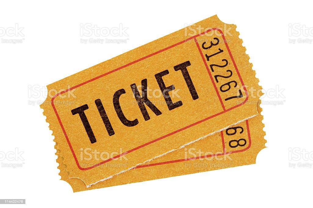 Orange admission tickets stock photo