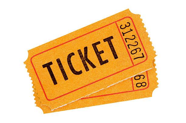 arancio biglietti d'ingresso - biglietto del cinema foto e immagini stock