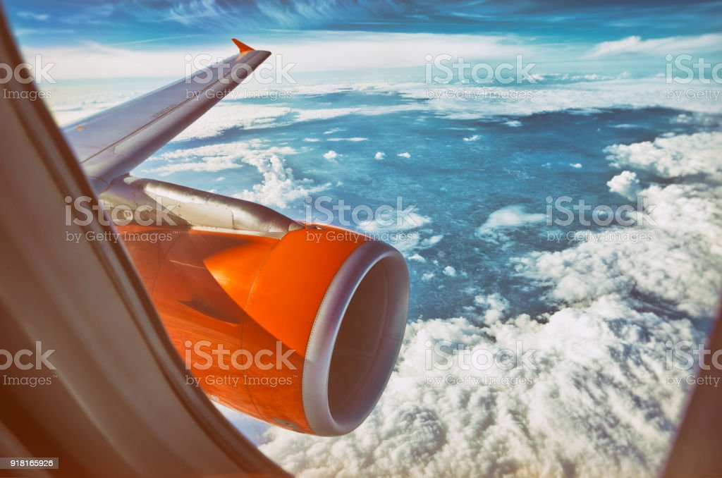 Orange aircraft jet engine stock photo