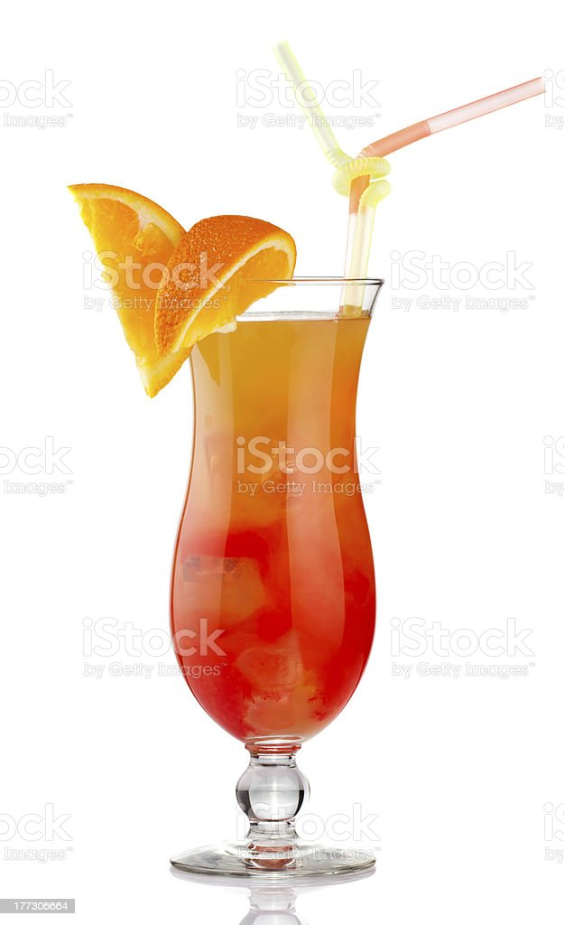 Orange alcohol cocktail with fruit slices isolated royalty-free stock photo