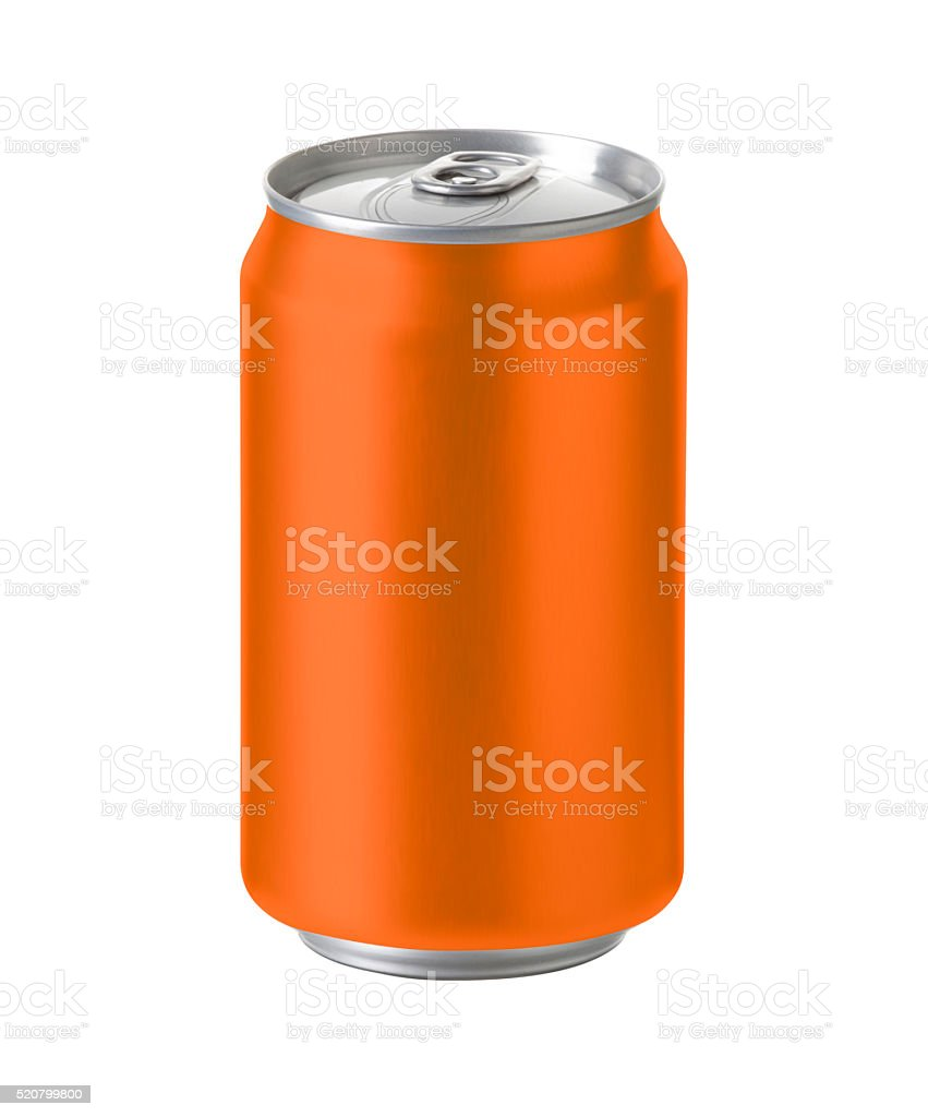 orange aluminum can with space for design and clip path stock photo