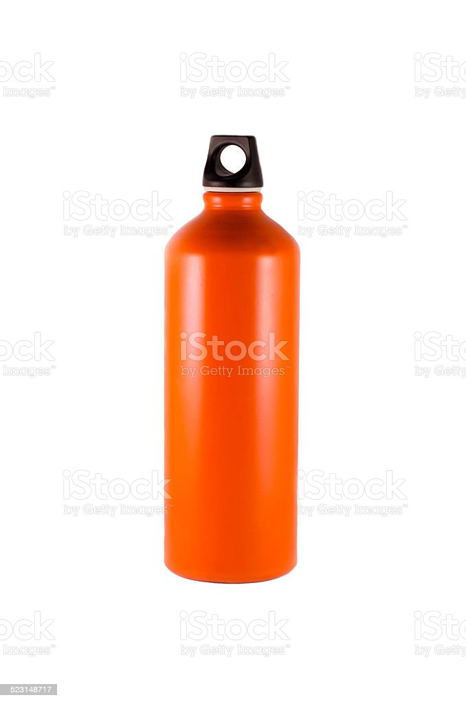 Orange Aluminum Water Bottle stock photo