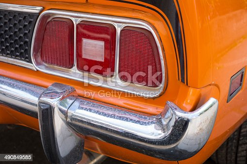 istock Orange American Classic Car Detail 490849585