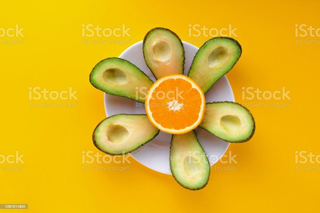 orange an avocado stock photo